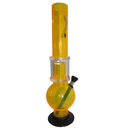 PERCOLATOR ACRYLIC BONG, ACRYLIC BONG, BONGS, Little Goa, Yellow X Symbol Single Percolator Acrylic Bong-12 Inch
